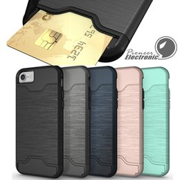 Wholesale Black Armor Case - Card Slot Case For iPhone X 8 Armor case hard shell back cover with kickstand case for iphone 6 6 plus 7 7 plus