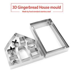set de moldes de chocolate Rebajas 3D Gingerbread House Sets Mold Práctica herramienta para hornear pasteles de chocolate Fácil de usar Standard Stainless Steel Cookie Mold Set Silver 8 5mr B