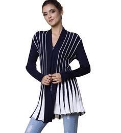 Wholesale cardigan sweaters large women - Large size women's Summer knitted cardigan Sweater shawl Large size women Striped knit Cardigan sweaters coat female summer