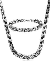 Wholesale Mens Byzantine Necklace - Stainless Steel Male byzantine Chain Necklace Mens Bracelet Jewelry Set