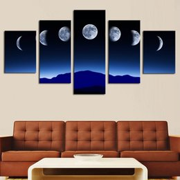 Wholesale Moon Cartoon Pictures - Unframed 5 Panels Abstract Blue Sky Moon Wall Art HD Picture Print On Canvas Painting For Home Decor