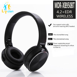 Wholesale Earphones Mdr - MDR-XB950 Wireless DJ Headphones Stereo Foldable Bluetooth Headsets Handfree Headphones Earphone Earbud with Mic For Iphone X S6 7 Samsung 8