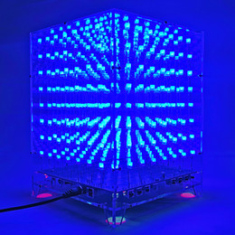 Wholesale Music Cube Speaker - 3D 8x8x8 MP3 Music Light Cube kit Spectrum LED Electronic DIY Kits square speaker Shells lot Remote Control 3D Christmas Gift-Wholesale