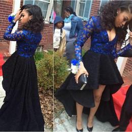 Wholesale Dress High Grade - Hi-Lo Long Sleeve Lace Prom Dresses Royal Blue V Neck Party Dresses 8th Grade African Graduation Dress Evening Dress High Low vestido longo