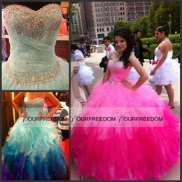 Wholesale Blue Womens Pageant Dresses - Ball Gowns Long Prom Dresses 2016 Sale Sweetheart Puffy Pageant Womens Ruffle Tulle Cheap Elegant Quinceanera Sweet 16 15 Gowns