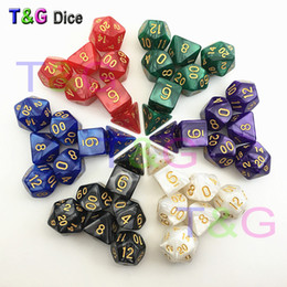 Wholesale International Chess - Wholesale- 2016 New Arrival Dungeons Dragons Marble effect Polyhedral dice TRPG Games D&D for board game 7 pcs set golden numerals
