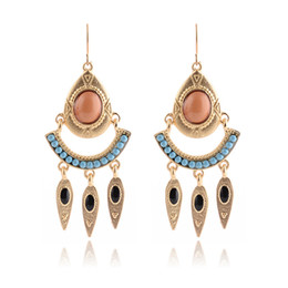 Wholesale Gemstone Pearl Dangle Earrings - 2016 new fashion women's new oil paintings and exaggerated Earrings gemstone Pearl Earrings alloy jewelry wholesale