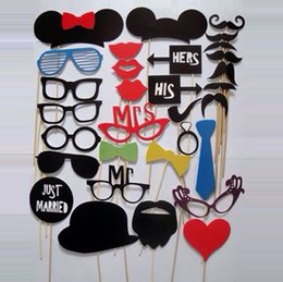 Wholesale Christmas Photo Booth - 31pcs lot Funny Photo booth props with lips moustaches glasses and sticks party wedding Decorations Prop H092