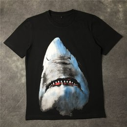 Wholesale Cotton Mouth Head - GVC Europe tide brand 2016 new large shark shark shark mouth a couple of male and female head short sleeved T-shirt