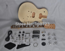 Wholesale Lp Guitar Body - DIY LP Guitars Mahogany Body Unfinished Electric Guitar Kit With Flamed Maple Top Dual Humbuckers
