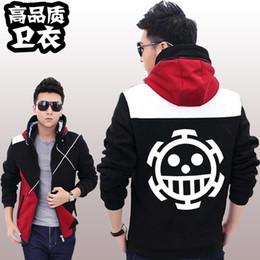 Wholesale Trafalgar Law Jacket Cosplay - Wholesale-One Piece Hoodies Anime Trafalgar Law Hooded Coat Thick Zipper men casual cardigan Jacket Sweatshirt Adult Costumes Cosplay