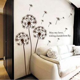 Wholesale Tv Wall Decoration - DIY dandelion three generations of removable wall stickers living room bedroom marriage room TV background decoration AY695 small wholesale