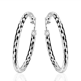 Wholesale Silver Big Round Earrings - Geometric Round Big Creole Hoop Earrings for Girl Silver Plated Career Jewelry Statement Earring European Brand Fashion Jewelry Beauty Gifts