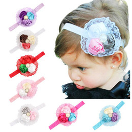 Wholesale New Lace Headbands - New Baby Headbands Flower Rhinestone Girls Kids Lace Rosebud Head bands Infant Hair Accessories Cute lovely Hair Ornaments Hairbands KHA29