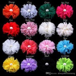 Cheveux rosette fille en Ligne-(75 pcs / lot) 6.5 cm 16 couleurs bricolage en mousseline de soie perle fleur fille bébé cheveux infantile bandeau à la main rosettes bandeau accessoire T5113