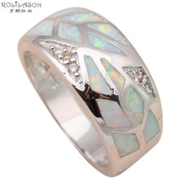 Wholesale Fire Horn - Shining Zirconia Rings for wedding stamped Silver White fire Opal Fashion Jewelry Rings USA SZ #5.5#6.5#7.5#8.5 OR701