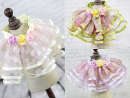 Wholesale Dog Flower Dresses - Spring Summer Fashion Dog Short Lace Princess Skirt Polyester Pet Pleated Skirts with 3 Flowers for Small Medium Dog 15pcs lot Drop Shipping