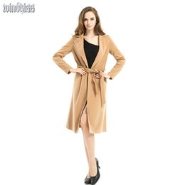 Wholesale Trench Coats For Ladies - Wholesale-2016 Women Winter Long Coat Shawl Collar Wool Blends Coats Casual Female Trench Coat brown Outerwear for Ladies