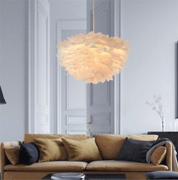 Wholesale Tom Dixon Ceiling Pendant - Nordic Lantern Nest Feather Ceiling Chandelier Pendant Lamp DropLight Cafe Store