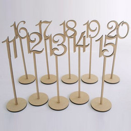 Wholesale Sticker Wedding - 2016 rustic hessian wedding table decoration Wooden wedding table number holder party table number tag stand
