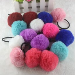 Wholesale Gum Balls Wholesale - New 2018 girl hair accessories Artificial rabbit ball hair bands of fur hair gum Big girl rubber bands for children High quality
