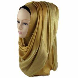 Wholesale Silver Shawls Wraps - Muslim Hijab 1 4 Shiny Shimmer Glitter Lurex 3 4 Plain Viscose Scarves Hijabs Shawls Wrap 175*65Cm phwj01