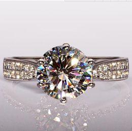 Spedizione gratuita veloce Taglio rotondo Hot 4ct Topaz Diamonique diamante simulato 14KT oro bianco Filled GF Fidanzamento Anello nuziale per donna Sz 5- da