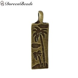 "Wholesale Antique Bronze Rectangle Pendants - Zinc Metal Alloy Pendants Rectangle Antique Bronze Coconut Tree Carved 30mm(1 1 8"") x 10mm(3 8""), 100 PCs 2016 new Free shipping jewelry mak"