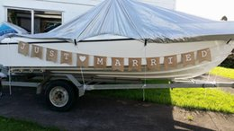 Wholesale Burlap Bunting - 2016 Just Married banner wedding photo booth props shabby vintage rustic hessian burlap wedding bunting sign garland