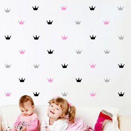 Wholesale princess bedroom decor - kid's Bedroom Decorate Wall Sticker Princess Baby Wall Decor Crown Pattern Wall Paster Sticker For Kids