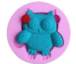Wholesale Christmas Fondant - Owl cake molds 4 pieces a set pink silcone fondant cupcake mould DIY liner baking tool