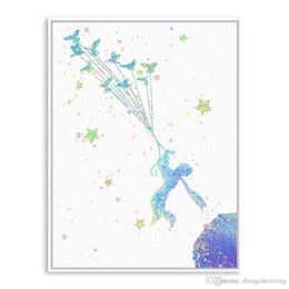 Wholesale prince wall - Original Watercolor Little Prince Pop Movie A4 Poster Prints Abstract Picture Boy Kids Room Wall Art Decor Canvas Painting Gifts