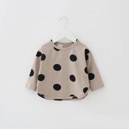 Wholesale Bat Sleeve Girls Shirt - Baby girls cotton linen T-shirt kids cute polka dots printed princess tops children bat sleeve pullover baby autumn cotton clothing