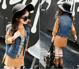 Wholesale Spandex Lycra Vest - girl waistcoat girl Fahion denim Sleeveless vest waistcoat coat children waistcoat