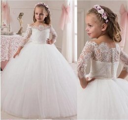 Wholesale Toddler Off White Lace Dress - 2018 Lace Toddler Flower Girls Dresses For Weddings Teens Tulle Jewel Long First Communion Dress Floor Length Girl Pageant Gown