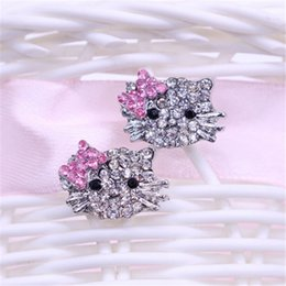 Wholesale Crystal Kitty Cat Earrings - Bow-knot KT jewelry Crystal Cat Stud Earrings Brincos Cute Rhinestone Hello Kitty Earrings for woman Pendientes