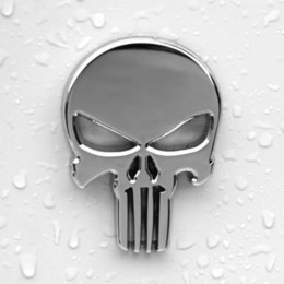 Wholesale Sticker Gas Tank Motorcycle - 2016 Hot Sale Auto Car Motorcycle Metal 3D Chrome Punisher Skull Gas Tank Decal Sticker Emblem
