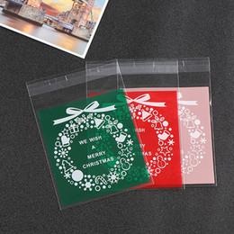 weihnachtsnahrungsmittelpakete Rabatt Weihnachtssankt-Plastikgeschenk-Taschen mit Kleber-Dichtungs-Weihnachtsplätzchen-Süßigkeit backten das Lebensmittel, das neues Jahr-Dekoration verpackt