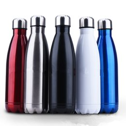 Wholesale Stainless Steel Thermos Free Shipping - Colorful Stainless Steel Vacuum Bottles Thermos Flask Travel Sport 304 Stainless Steel Cups 350ml 500ml 750ml Free Shipping