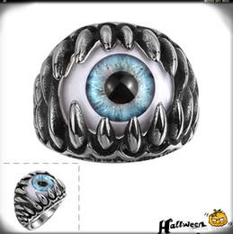 Wholesale Eyeball Rings - Halloween Party Gift Men Evil Eye Punk Rings Eyeball Stylish 316L Stainless Steel Punk Rings Fashion Luxury Rings Cosplay Ghost Masquerade