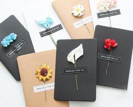 2019 cartões de natal musicais Feitas à mão cartões de natal secas flor diy vintage papel kraft obrigado cartões cartões de aniversário cartão de simulação de flor
