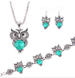 Wholesale Owl Earrings China - 5Sets 7Colors Jewelry Sets Tibet Silver Vintage Turquoise Owl Pendant Necklace Earring Bracelet Jewelry Set For Women
