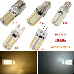 Wholesale Dimmable Bulb Smd - LED Bulbs Light SMD3014 80LED AC110V 220V Dimmable Silica LED Corn Bulb G4 G8 G9 E11 E12 E14 E17 BA15D Silicone Gel Lamps