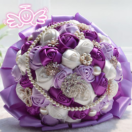 Wholesale Cheap Dried Flowers - Crystal Pearl Luxury Bling Bridal Bouquet Wedding Bouquet Cheap Handmade Artificial Rose Flower Bridal Bouquet D197