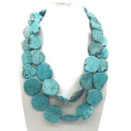 Wholesale Chunky Acrylic Links - Free Shipping Double Strands Layered Turquoise Stone Chunky Statement Necklace, Wholesale Fashion Popular Holiday Necklace, Punk Necklace