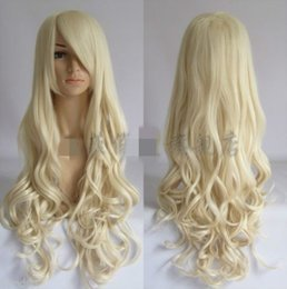 Wholesale Wigs For Cheaper - 100% cheaper Brazilian lace false hair American black women synthetic hair wigs for Cosplay >>Fashion light blonde long curly Women's Cospla