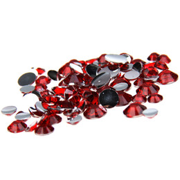 Wholesale Round Cutting Machine - Red Non Hotfix Resin Rhinestones 1000pcs 2-5mm Round Flatback Facets Chatons Machine Cut Stones DIY Scrapbook Nails Art Supplies