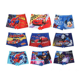 Wholesale Spiderman Trunks - 2016 spiderman mickey swim trunks baby boys swimsuit kids beachwear minions Cars Winnie superhero swimwear trunks 9 styles