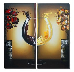 Wholesale Floral Home Decor Canvas - Modern Abstract Artwork 2 pcs 100% Hand Painted Oil Painting on Canvas Wine Flower Paint Home Decor Ready to Hang