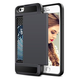 Wholesale Bumper Case For 4s - Impact Resistant Wallet Anti-scratch Protective Shockproof Rubber Bumper Card Slot case for iPhone 4 4s 5 5s 5c drop shipping